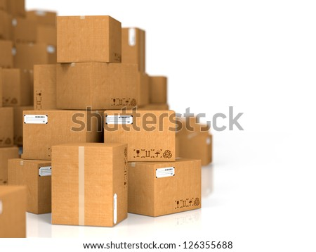 Industrial Background. Cardboard Boxes on White Background. - stock photo