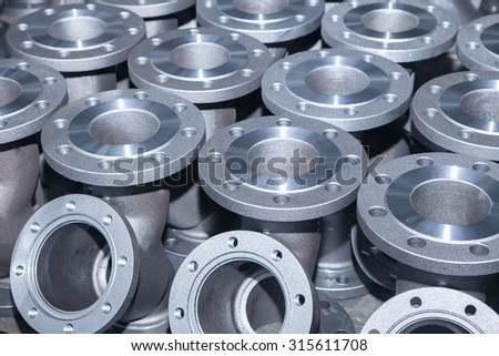 Industrial background from part of valves for power, oil or gas industry - stock photo