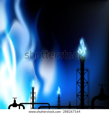 Industrial background. Pipes with a blue flame. Stock image.