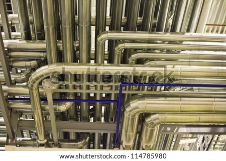 Industrial background with the image of pipelines - stock photo