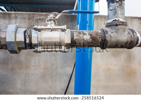 Industrial ball valve setting at the maximum flow position
