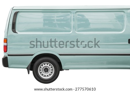 Industrial blue van on a white background, room for text ,logo or copy space - stock photo