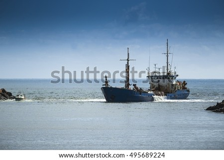 Industrial boat on the sea