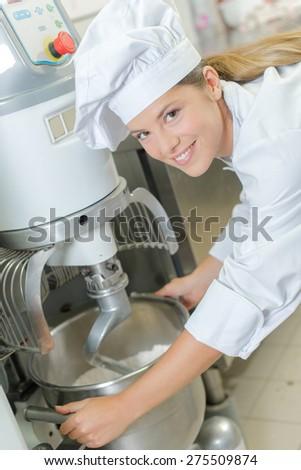 Industrial bread mixer - stock photo