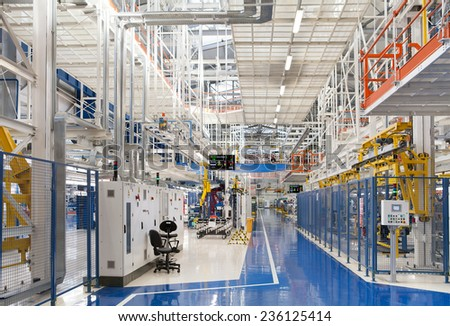 Industrial building interior at Fiat Cars Serbia factory circa april 2012. - stock photo