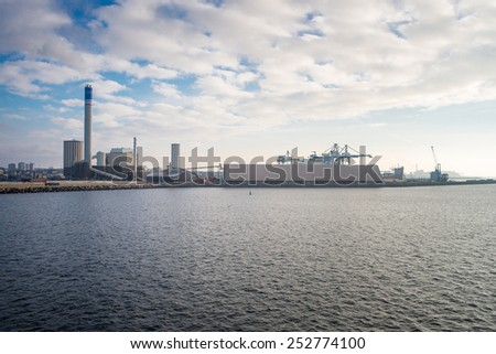 industrial building on the beach in Helsingborg - stock photo