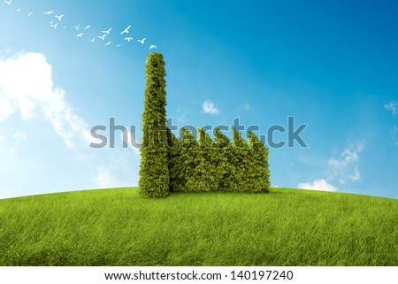 industrial building with the form of a bush for the environmental topic - stock photo