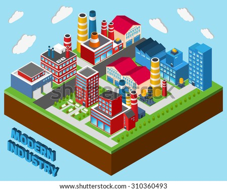 Industrial buildings isometric set modern industry city concept 3d  illustration