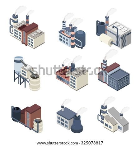 Industrial buldings isometric icons set with 3d plants and factories isolated  illustration