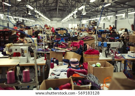 Industrial busy sewing workplace