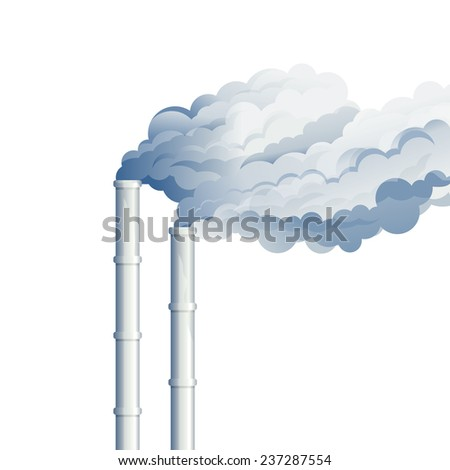 Industrial chimney smoke, environmental pollution, industrial smoke from chimney, smog and fog in sky, ecology concept - stock photo