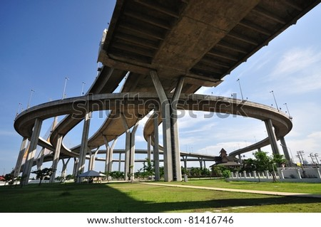 """Industrial circle bridge, It is named """"Bhumibhol bride 1 and 2"""" - stock photo"""