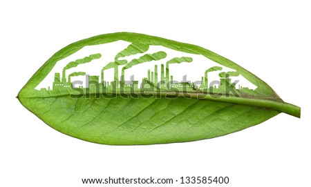 industrial city, cut the leaves of plants, isolated over white - stock photo