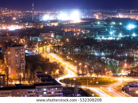 Industrial city in evening from the chimney, Zaporozhye, Ukraine