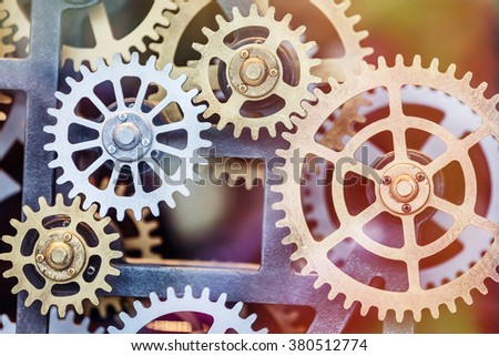Industrial clock transmission gear set details - stock photo