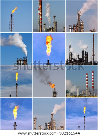 Industrial composition of oil and gas refinery shots - stock photo