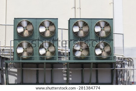 Industrial compressor unit of air conditioner - stock photo