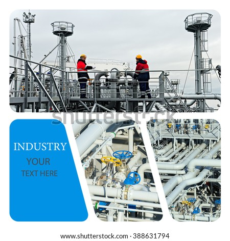 Industrial concept. Oil And Gas Industry. Work on the gas tanker safety monitor. Industrial - stock photo