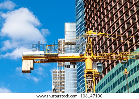 Industrial construction of multistory building - stock photo