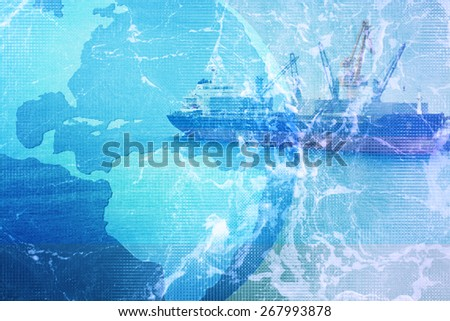 Industrial Container Cargo freight ship.Logistic ,Import ,Export background - stock photo
