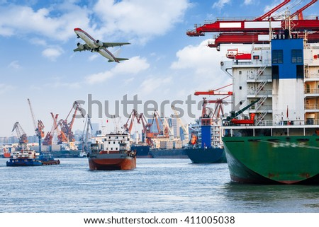 Industrial container freight Trade Port scene - stock photo