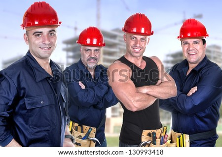 Industrial contractors workers people - stock photo