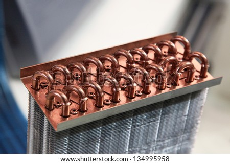 Industrial Cooling Unit Water-to-air Heat Exchanger fragment - stock photo