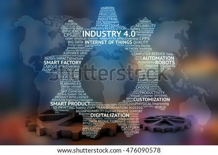 Industrial 4.0 Cyber Physical Systems concept , Gears text , Internet of things network , smart factory solution , Manufacturing technology , automation robot text with world map abstract background