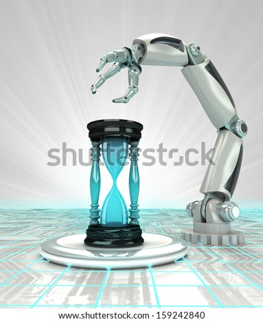 industrial cybernetic robotic hand creation works in time render illustration - stock photo
