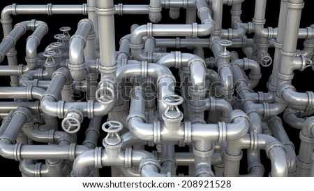 Industrial 3d illustration. Maze made of pipes