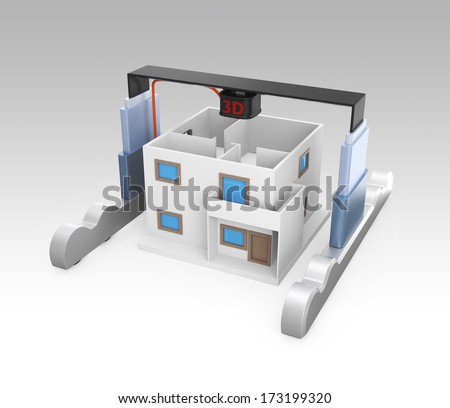 Industrial 3D printer build a house concept. - stock photo