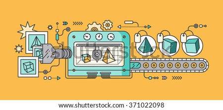 Industrial 3D printer prints. Innovative fabrication process background. 3D printer and sample objects. 3D printer icons. Manufacturing 3D printer. Monitor showing 3d program. 3d conveyor. 3d. Raster - stock photo
