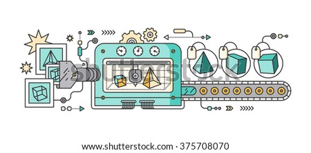 Industrial 3D printer prints. Innovative fabrication process background. 3D printer and sample objects. 3D printer icons. Manufacturing 3D printer. Monitor showing 3d program. 3d conveyor. 3d  - stock photo