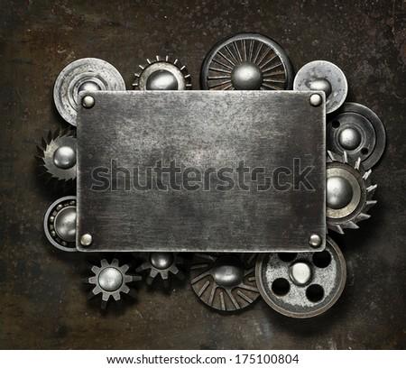 Industrial dark metal background - stock photo