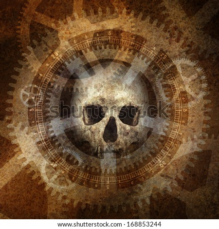 Industrial Death Machine with skull materialising against a grunge texture background of rusty industrial dials, gears and cogwheels. - stock photo