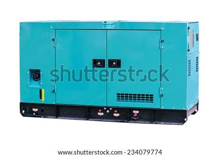Industrial diesel power generator on white background. - stock photo