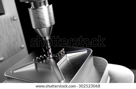 Industrial Drill on Black Background - stock photo