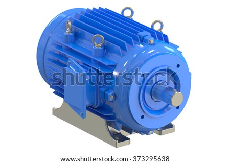 Industrial electric motor isolated on white background