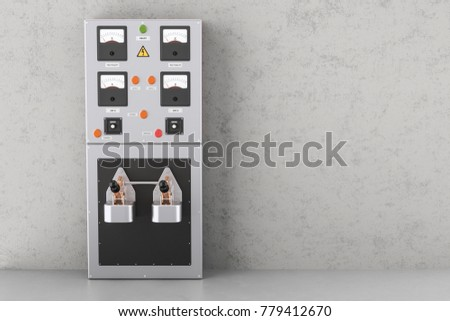 Industrial Electrical Power Panel Box In The Building 3D Rendering