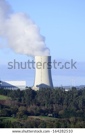 Industrial energy business. Environmental emissions and contamination of a chemical process. - stock photo