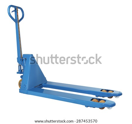 Industrial Equipment Warehouse, blue manual hand hydraulic pallet truck, forklift, isolated on a white background, saved path, nobody. - stock photo