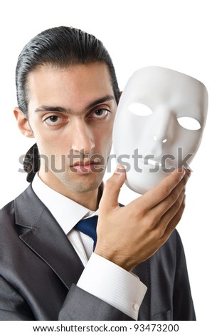 Industrial espionage concept with masked businessman - stock photo