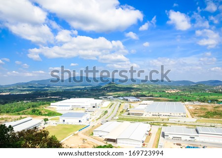 industrial estates zone with cloud blue sky and shadow - stock photo
