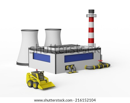Industrial Factory Building and construction machinery on white background. - stock photo