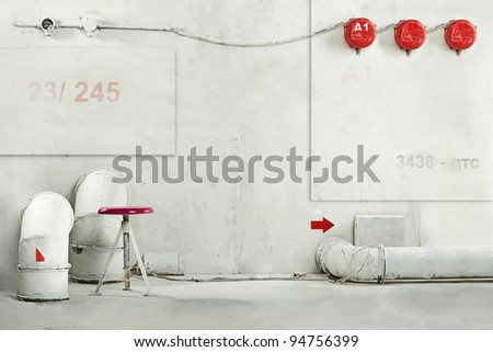 Industrial fantastic interior rooms concept idea art background - stock photo