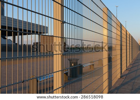 industrial fence - stock photo