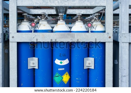 Industrial gas canisters. - stock photo