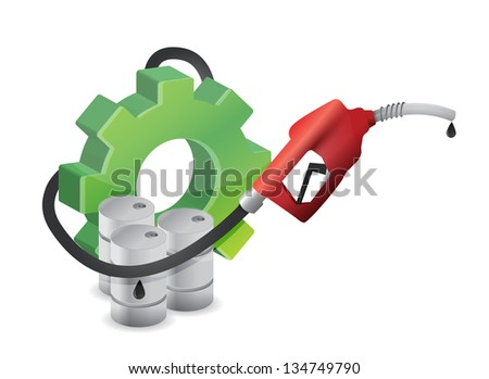 industrial gear with a gas pump nozzle illustration design over a white background - stock photo