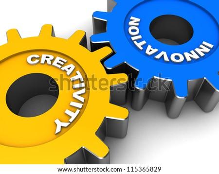 industrial gears words creativity innovation stock