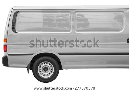 Industrial gray van on a white background, room for text ,logo or copy space - stock photo